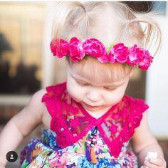 Hot pink rose crown/ pink rose crown / baby flower crown / newborn crown / flower crown / boho / kids fashion / flowergirl / bridesmaid