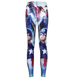 69e9f733d5 Captain America Marvel Comic Portrait Nerd Graphic Print Leggings Red White  Blue | eBay Workout Leggings