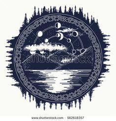 Mountain lake tattoo art. Mystical symbol of tourism, camping, travel.  Lunar phases over mountain lake t-shirt design