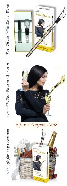 http://chillrodpromo.rhotus.com/  Amazon 2 for 1 Coupon Code  - Features durable stainless steel and acrylic construction - The graceful pour spout is artfully fashioned after the Calla Lily  - This unique and beautiful wine gift is a real conversation starter.  - Keeps your wine chilled for up to an hour - Completely eliminates drips and spills  - The spout allows air to enter, aerating the wine in the bottle as you pour.  Perfect gift for experts and amateurs alike.