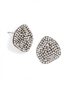 hematite & crystal combine in this pair of edgy studs.