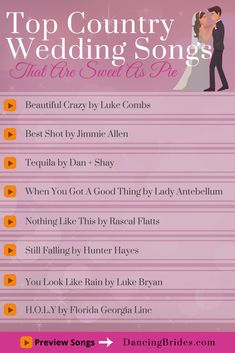 Country Wedding Songs That Are Sweet As Pie Create your personalized playlist and learn to dance with individual style! Find unique wedding details, first dance tips and songs at >> The Wedding The Wedding may refer to: Wedding Songs Reception, First Dance Wedding Songs, Country Wedding Songs, Wedding Tips, Wedding Details, Wedding Planning, Dream Wedding, Country Weddings, Wedding Photos