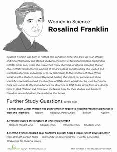 Fifth Grade Comprehension Life Science Worksheets: Rosalind Franklin