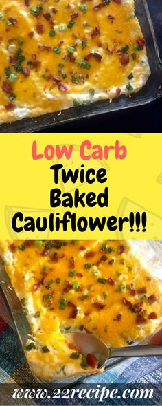 Low Carb Twice Baked Cauliflower! - 33 Recipe Low carb Pin Low Carb Twice Baked Cauliflower! Low Carb Twice Baked Cauliflower! Baked Cauliflower Casserole, Twice Baked Cauliflower, Cauliflower Recipes, Cauliflower Rice, Tasty Dishes, Side Dishes, Low Glycemic Diet, Paleo Dinner, Weight Loss Smoothies