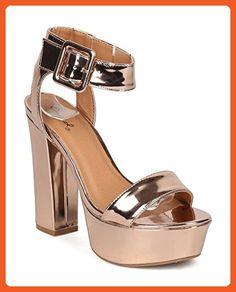 Women Metallic Platform Block Heel - Dressy, Formal, Party - Ankle Strap Sandal - GF88 By Qupid - Rose Gold (Size: 8.5) - Sandals for women (*Amazon Partner-Link)