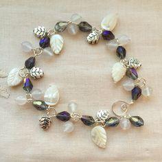 Agate gemstone beads/ Tridacna shell beads/ Tibetan silver beads/ Crystal beads handmade bracelet by HoneyMoonNYC on Etsy