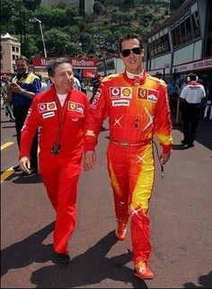 Jean Todt e Michael Schumacher Michael Schumacher, Ferrari F1, Lewis Hamilton, Car And Driver, F 1, Benetton, Formula One, Motogp, Grand Prix