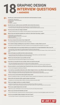 18 graphic design interview questions - infographic 18 essential graphic design interview questions (with answers) that will help you nail your next graphic design job interview. Design Websites, Graphic Design Lessons, Graphic Design Resume, Web Design Quotes, Graphic Design Posters, Graphic Design Tutorials, Graphic Design Illustration, Typography Design, Graphic Designer Cv