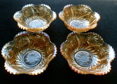 RARE LOT 4 US GLASS FIELD THISTLE MARIGOLD CARNIVAL GLASS BERRY BOWLS NICE!
