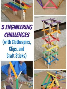 5 Engineering Challenges with Clothespins, Binder Clips, and Craft Sticks and other stem activities