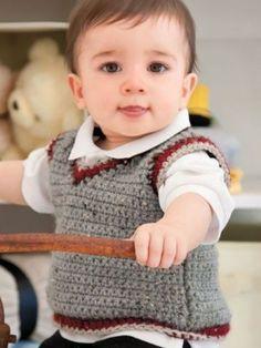 Crochet baby boy vest yarns 54 ideas for 2019 Baby Boy Vest, Baby Boy Sweater, Baby Boys, Gilet Crochet, Crochet Vest Pattern, Knit Crochet, Crochet Patterns, Crochet Ideas, Crochet Vests