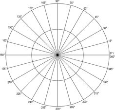 Polar Coordinate Graph Paper Grid  Polar Grid In Degrees With