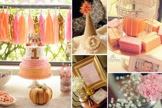 pink and gold first birthday   Vintage Pumpkins, Pink, Gold First Birthday Party