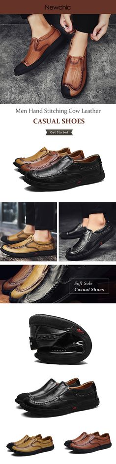 Men Cow Leather Stitches Slip On Casual Shoes