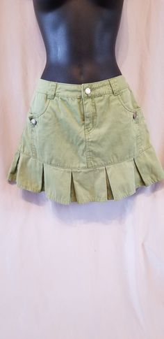 12eaa68542 Mossimo Women's Denim Mini Skirt Size 9 green with pleated detail #fashion  #clothing #