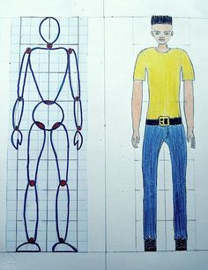 drawing people proportions - Analysing the human figure with the students of the 8 we have understood how to draw a human body with the right proportions. Helping with a grid with squares we invented a character according to t… Drawing Projects, Drawing Lessons, Drawing Tips, Basic Drawing, Drawing For Kids, Manga Drawing, Proportion Art, 8th Grade Art, Human Figure Drawing