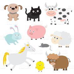 Farm animal set. Dog, cat, cow, rabbit, pig, ship. Flat royalty-free stock vector art