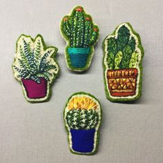 Embroidered cacti pins by Creamente on Etsy