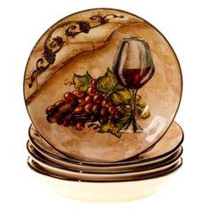 Certified International Hand-painted Tuscan View Soup/Pasta Bowls (Set of Soup/Pasta Bowl, Set of Multi (Ceramic, Fruit)