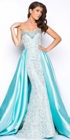 Jewel Trim Embroidered Strapless Evening Dress by Mac Duggal