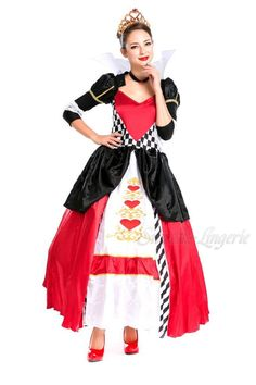 Great Luxury Queen Princess Dress For Adult Heart Print Halloween Costumes For  Women Medieval Dress Masquerade Cosplay