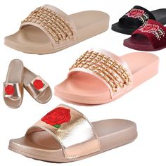 83c1d1aa593 Womens Sandals Flat Slides Flip Flop Slip On Thick Rubber Sole Chain or  Rose New