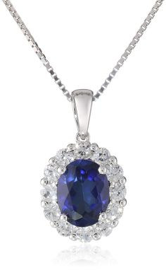 """Sterling Silver, Created Blue Sapphire, and Created White Sapphire Pendant Necklace, 18"""""""