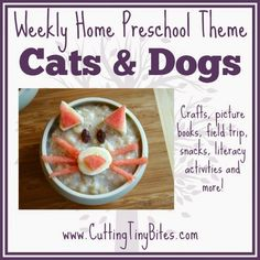 Preschool theme unit on dogs and cats.  Crafts, snacks, picture books, literacy activity, field trip, and more!  Perfect amount of activities for one week of EASY home pre-k.