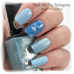Nail Art by Belegwen: Gina Tricot Candy Mint, OPI No Room For The Blues and Golden rose 71