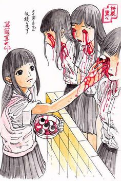 "akatako: from ""Candy Filled Girl's Head""by Shintaro Kago Art Bizarre, Creepy Art, Weird Art, Scary, Creepy Horror, Arte Horror, Horror Art, Illustrations, Illustration Art"