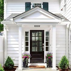 build_prestige_homes @kristywicks with When the side entry is as beautiful as the front entry you know details were carefully considered in the design of a home. This elegant whitehouse was designed by the talented team at @lasleybrahaney. #shutters #blackdoor #hallwaysandentrys