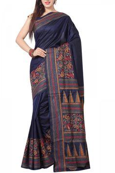 Midnight Blue Kantha Soft Silk Saree
