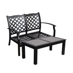 Allen Roth 2 Piece Carrinbridge Black Aluminum Patio Loveseat And Coffee Table Set