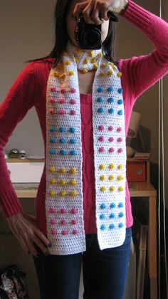 Candy Button Scarf - Pattern from Crochet Goodies for Fashion Foodies. I don't know how to crochet so I'm going to need someone to make this for me:) Crochet Scarves, Crochet Shawl, Crochet Yarn, Crochet Clothes, Loom Knitting, Knitting Patterns, Crochet Patterns, Crochet Crafts, Crochet Projects