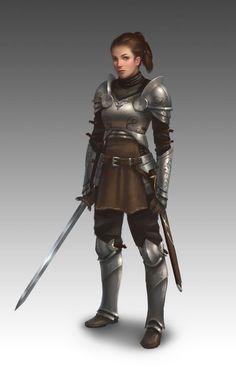 Humana, caucásica, joven adulta, pelo castaño, pelo largo, pelo recogido, guerrera, espada.