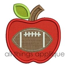 Apple with Football Applique - 4 Sizes! | What's New | Machine Embroidery Designs | SWAKembroidery.com All Things Applique