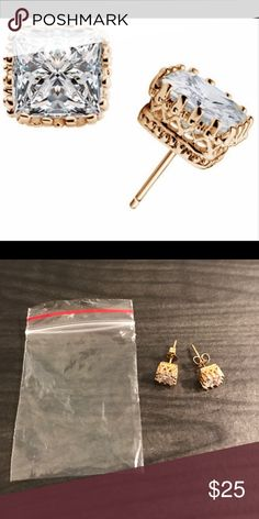 18k Yellow Gold Plated Princess Cut Crown Earrings 18k Yellow Gold Plated Princess Cut Crown Earrings, 18k gold plated over 925 sterling silver. ACCEPTING ANY OFFERS. Jewelry Earrings
