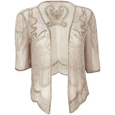 Silver Embellished Mesh Jacket - Jackets and Shrugs - Up to £30 Off Party Shop - Christmas - Womens Fashion - Wallis found on Polyvore
