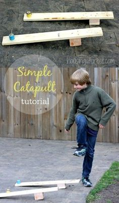 Simple Catapult Tutorial ~ Easy DIY Catapult for Kids to Make proje. - Simple Catapult Tutorial ~ Easy DIY Catapult for Kids to Make projects for kids Simple - Kids Woodworking Projects, Wood Projects For Kids, Wood Projects For Beginners, Wood Working For Beginners, Woodworking Classes, Popular Woodworking, Diy Woodworking, Woodworking Furniture, Woodworking Machinery