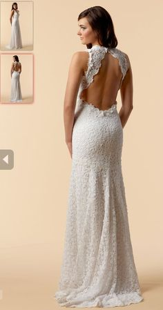 Style Ravenna  White Cotton Crochet Lace v-neck gown with keyhole back and fluted hem.                                                             http://watters.com/Product/WattersBrides/6049B/#Colors:white