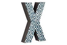 Letter X, Navy Greek Key on OneKingsLane.com