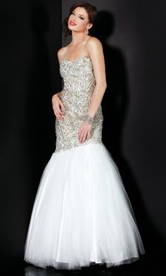 White Mermaid/Trumpet Long/Floor-length Graduation Zipper Up Prom Dress PD35A6