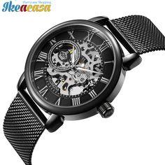 Men Watches Mechanical Hand Wind Luxury Top Brand Skeleton Stainless Steel Bracelet Mesh Strap Ikeacasa Montre Orologio Uhr часы Reloj