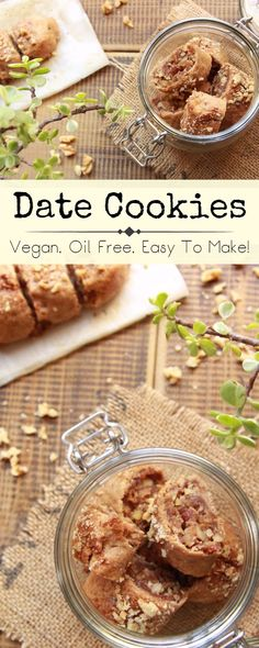Easy to make, oil free, vegan toasted walnut and date cookies, sprinkled with coconut sugar and chopped walnuts, and perfect for your morning coffee or tea. #veganfoodshare #veganrecipes #plantbased