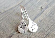 925 Sterling Silver earrings - hand stamped dandelions #SilverJewelry