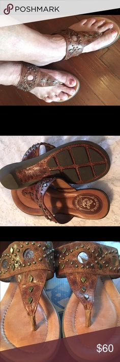 Ariat Studded Sandals Ariat Northstar studded thong sandal, color is Gingersnap with original shoebox.  Excellent condition, worn less than six (6) times. Ariat Shoes Sandals