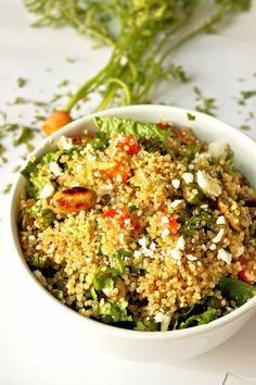 Quinoa Salad loaded with fava beans, fresh peas and balsamic vinaigrette