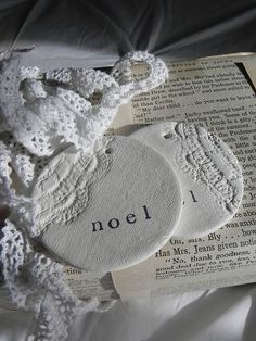 Ornaments made with air dry clay and a doily imprint - genius--FOR CHRISTMAS! Salt Dough Christmas Decorations, Diy Christmas Ornaments, How To Make Ornaments, Holiday Crafts, Holiday Ideas, Christmas Ideas, Christmas Stuff, Holiday Decor, Elegant Christmas