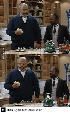 "Fresh Prince of Bel Air ""This fat free cake isn't bad. Sir, that's a sponge. Fresh Prince, Daily Funny, The Funny, Crazy Funny, Movies Showing, Movies And Tv Shows, Prinz Von Bel Air, Rap, Funny Memes"