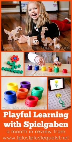 Inspiration for playful learning with #Spielgaben ~ creating dinosaurs, sorting by color,  and more!